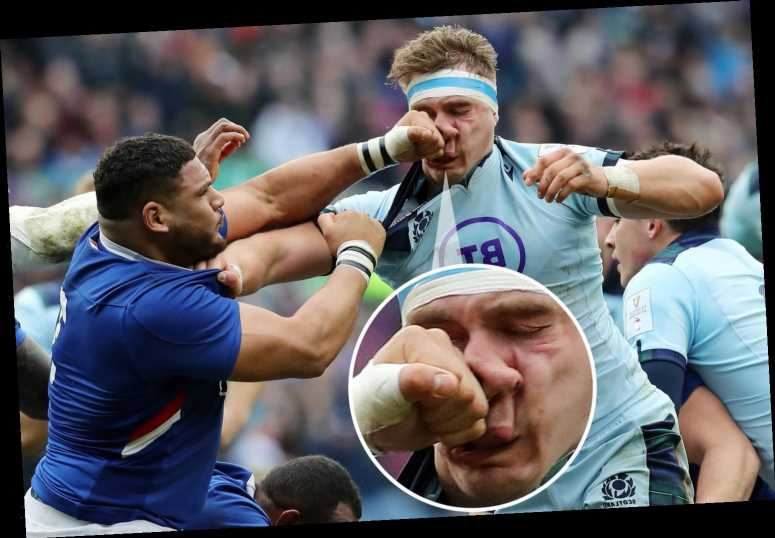 Watch France rugby star Haouas' brutal red card PUNCH on Scotland's Ritchie during fiery Six Nations game – The Sun