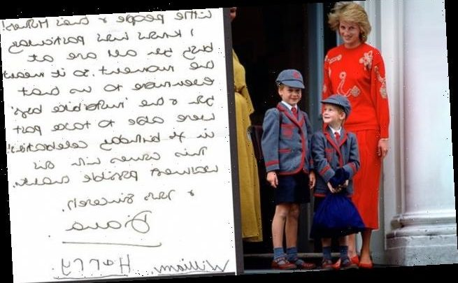 Princess Diana letter with Harry and William's signatures for sale