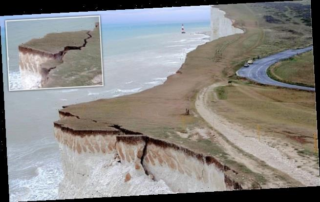 Chunk of Sussex cliff on brink of collapse as crack opens after rain
