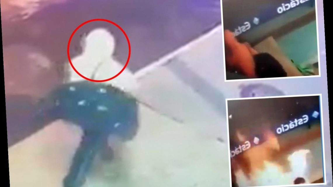 Shocking moment man pours petrol onto a sleeping homeless man and sets him alight