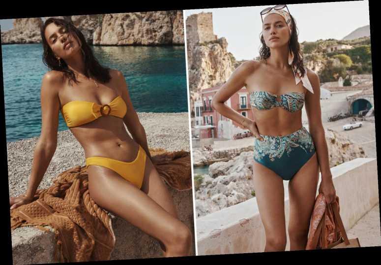 Irina Shayk shows off her phenomenal figure in turquoise paisley bikini