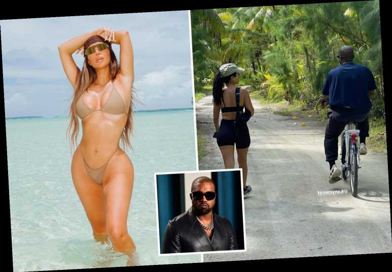 Kanye West WAS at Kim Kardashian's 40th birthday getaway as he's pictured riding a bike on the island – The Sun