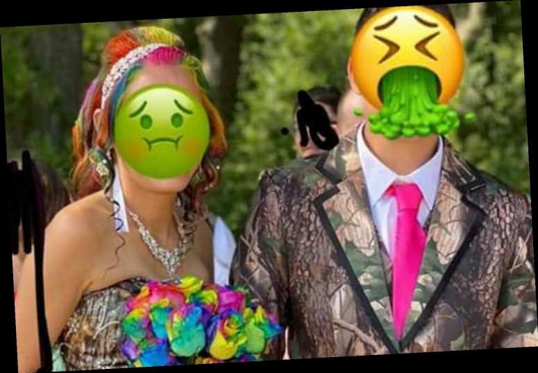 Bride and groom horrify with matching camouflage suit and wedding dress – and people don't love the bold flowers either