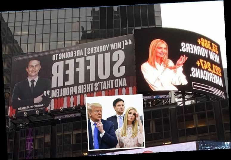 Ivanka Trump targeted by huge anti-Trump billboard in Times Square – and she threatens to sue to have it pulled down