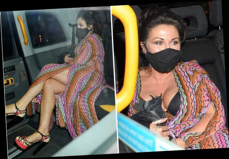 Jessie Wallace falls out of her dress leaving a London restaurant after EastEnders suspension for 'boozing on set'