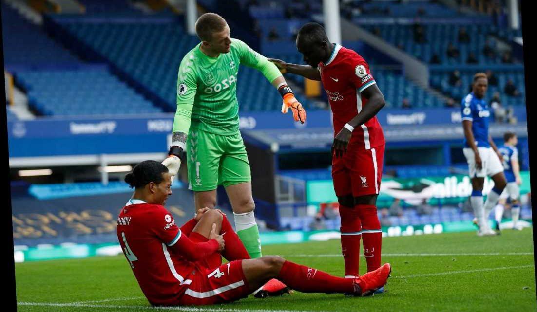 Virgil van Dijk snubbed Pickford concern and Mane waved Everton goalkeeper away after horror tackle on Liverpool ace