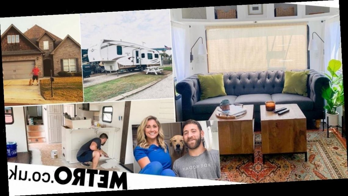Couple sell house to live in caravan, transforming it for under £4k