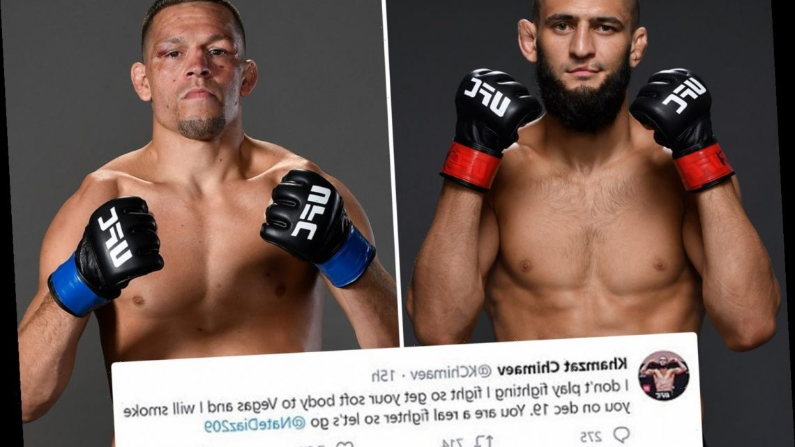 UFC star Khamzat Chimaev calls out Nate Diaz for December fight and roars 'get your soft body to Vegas – I'll smoke you'