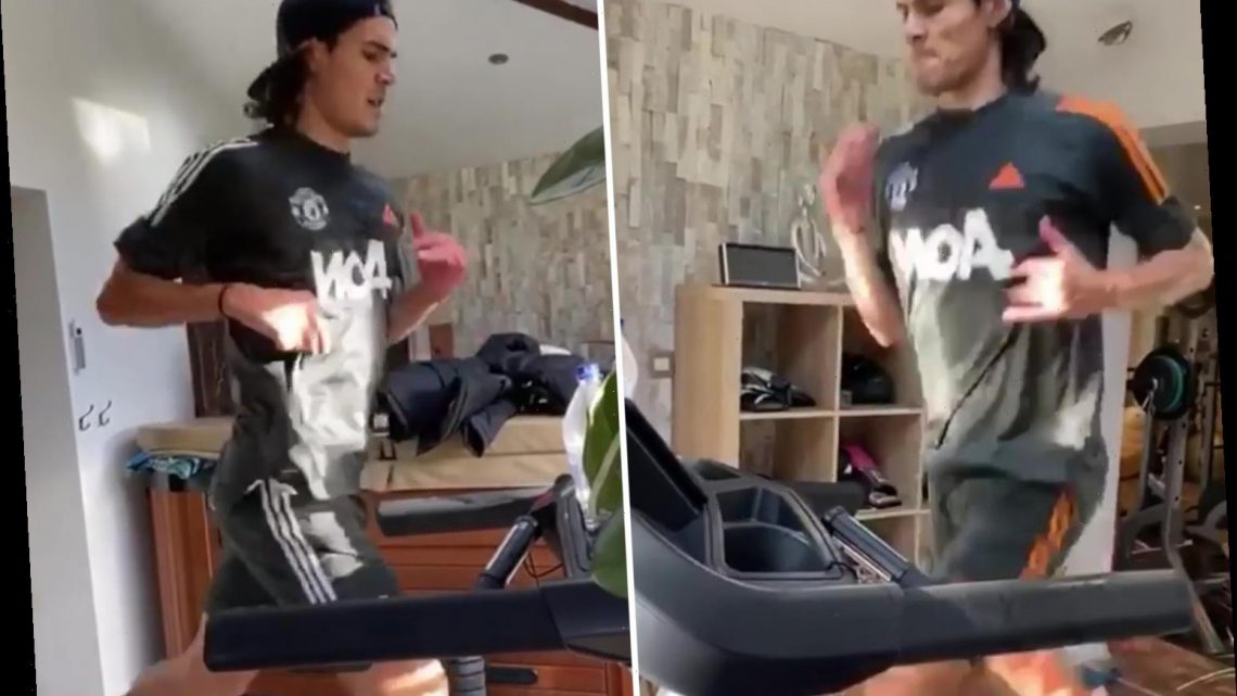 Edinson Cavani spotted in Man Utd kit for first time as new signing works up sweat while training for debut in lockdown