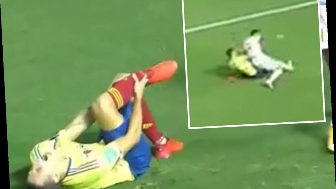 Watch horror moment Colombia ace Santiago Arias breaks leg and tears multiple ankle ligaments, leaving tackler in tears