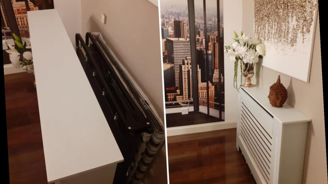 Woman uses radiator cover to hide folding guest bed and it's a genius solution if you don't have a spare room