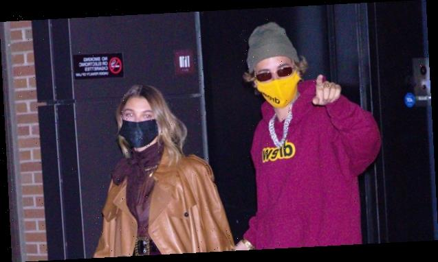 Justin Bieber & Hailey Baldwin Are A Clone Couple In Matching Magenta Outfits During Date Night