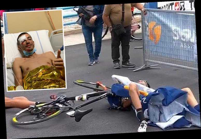PICTURED: Cyclist Wackermann rushed to hospital with major injuries after low-flying helicopter sparks horror crash