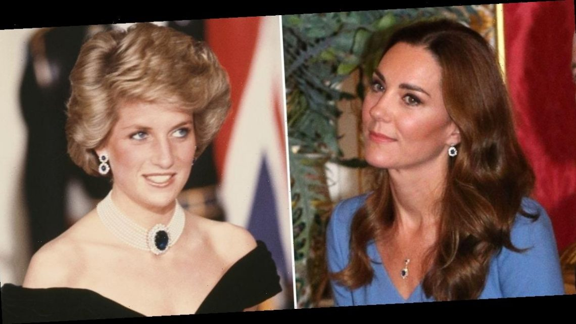 Kate Middleton accessorized a blue dress with a necklace that looks almost identical to earrings Princess Diana owned