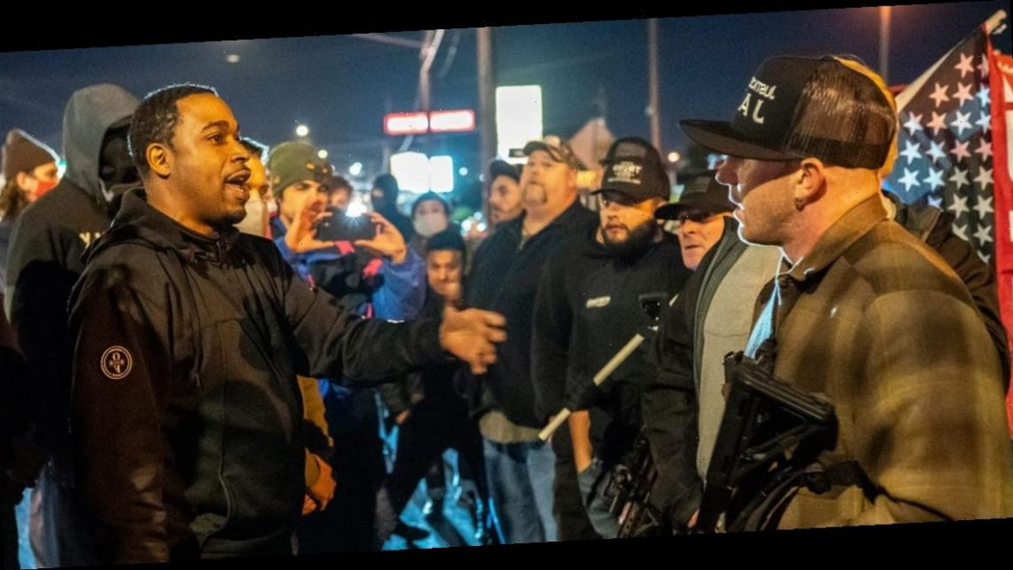Tensions betweenleft and right-wing protesters in Vancouver, Washington, after a Black man was shot dead by police officers in a drugs bust