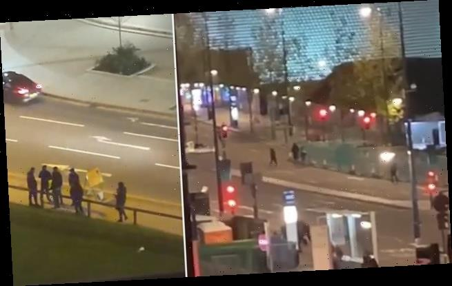 Moment reckless youths launch fireworks at each other in Birmingham