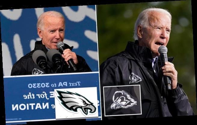 Biden mistakenly tells Philadelphia rally he's wearing Eagles jacket