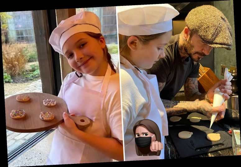 David Beckham dotes on daughter Harper, nine, as they bake cookies together at £6m Costwolds. home