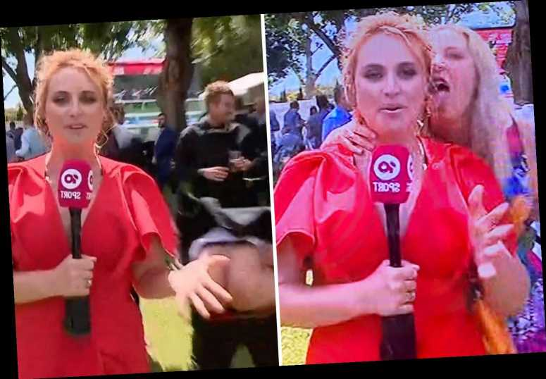 Shocking moment TV reporter is MOONED and licked on ear during live coverage of Melbourne Cup