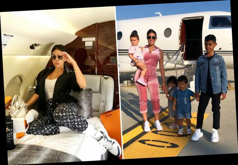 Georgina Rodriguez flies to Madrid on Cristiano Ronaldo's £20m private jet to give early Christmas gifts to kids