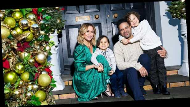 Inside Girls Aloud star Kimberley Walsh's home at Christmas with stockings over the fireplace and huge trees