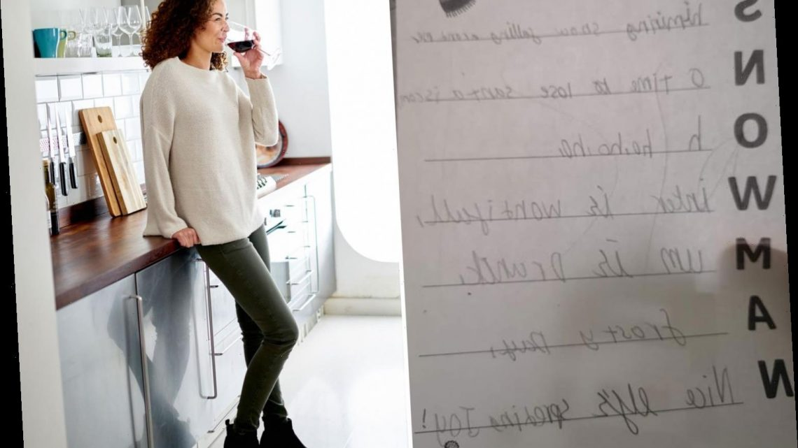 Mum cringes after eight-year-old tells his teacher she's 'a drunk' in Christmas homework mishap