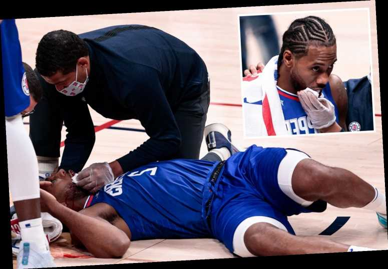NBA star Kawhi Leonard suffers horror injury with blood pouring from mouth after being elbowed in face by own team-mate