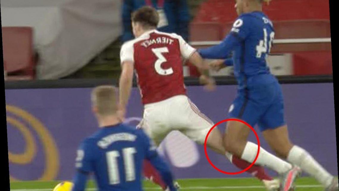 Reece James was 'done' by Kieran Tierney to win penalty claims Gary Neville as Lacazette scores controversial spot-kick
