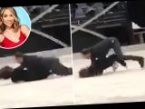 Shocking moment Myleene Klass hits her head and face-plants onto the ice just days before Dancing On Ice
