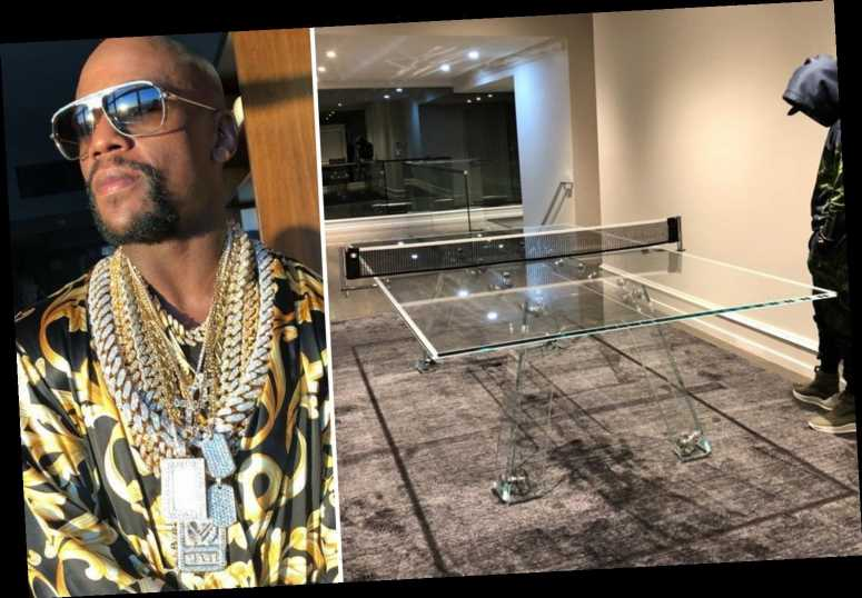 Floyd Mayweather shows off CRYSTAL ping pong table worth a staggering £22,000