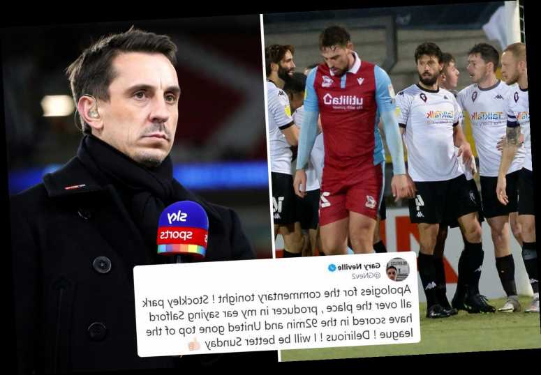 Gary Neville APOLOGISES for his Sky Sports commentary after hearing of Salford's late winner during Man Utd game