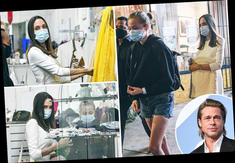 Angelina Jolie looks chic in white as she takes kids Zahara and Shiloh shopping in LA amid custody battle with Brad Pitt