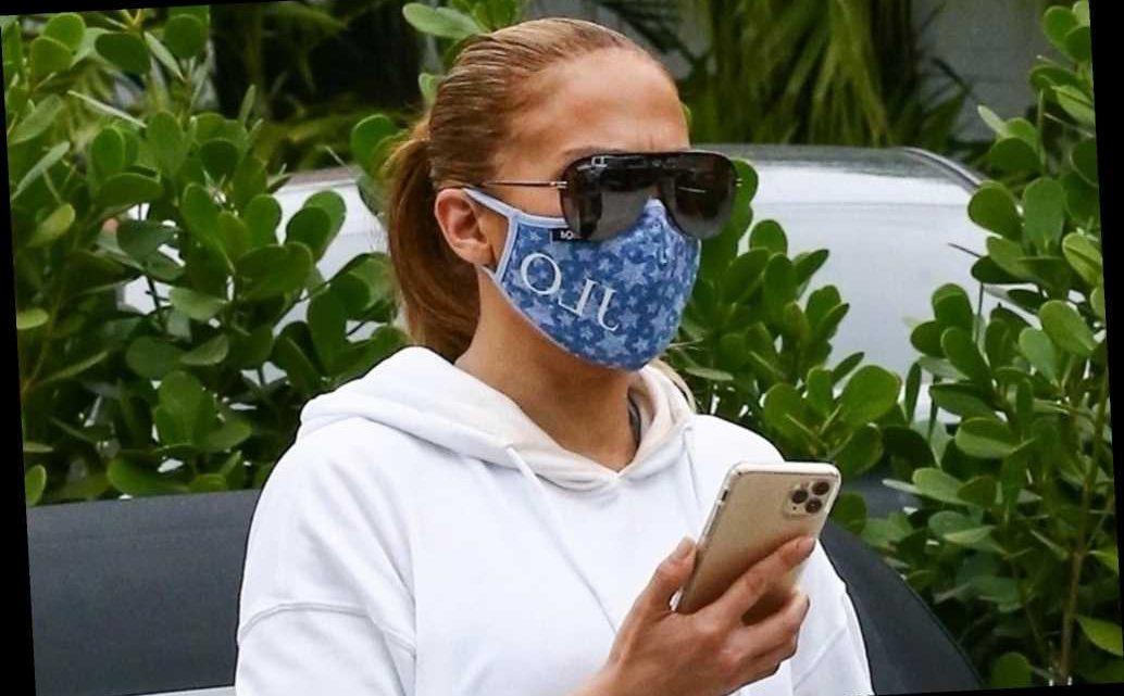 Jennifer Lopez debuts custom crystal-embellished face mask