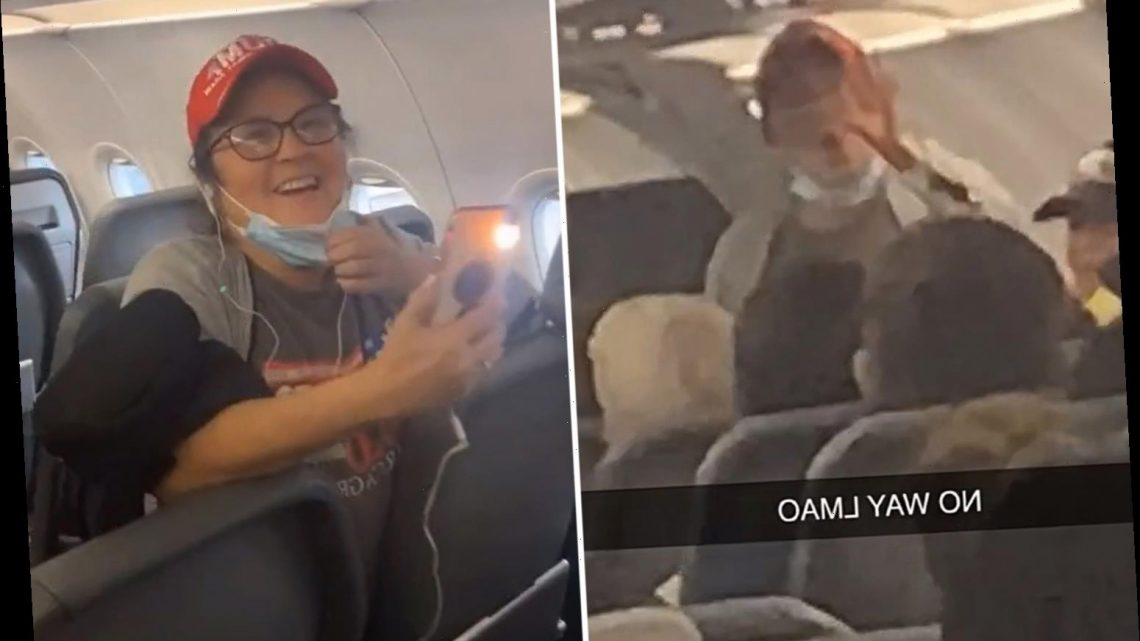 Shocking moment MAGA hat-wearing woman says 'have a good day n****r' after refusing to wear Covid mask on Frontier plane