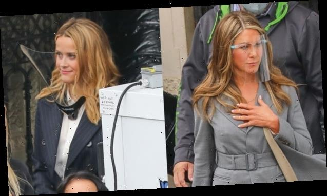 Jennifer Aniston Rocks Grey Skirt Suit With High Slit While On 'Morning Show' Set With Reese Witherspoon