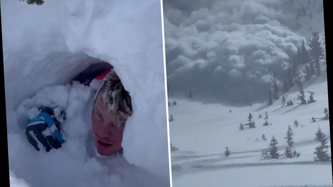 Crazy video shows snowmobilers narrowly escape Utah avalanche as powder quickly tumbles down mountain and buries man