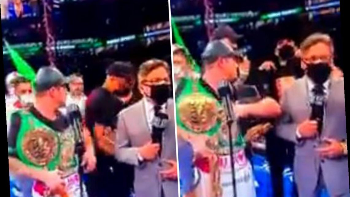 Watch Canelo Alvarez kick two Jake Paul fans out of ring in 'X-rated' blast after they gatecrash his celebrations