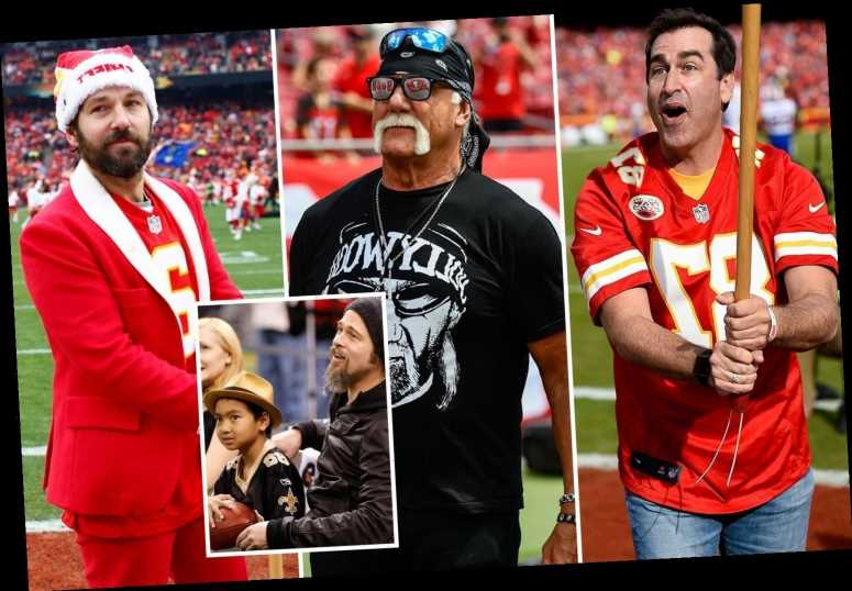 Brad Pitt, Paul Rudd and Hulk Hogan among Super Bowl celebrity fans cheering Chiefs and Bucs on to glory