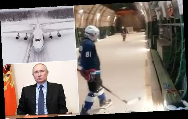 Ice hockey rink installed by Russian army inside military plane