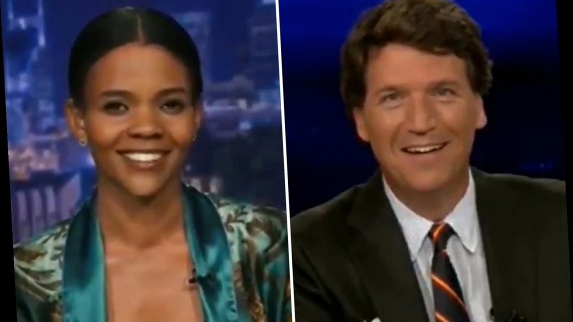 Candace Owens leaves Tucker Carlson in stitches by jokingly announcing she 'has an ID' as pair slam Dems over vote fraud