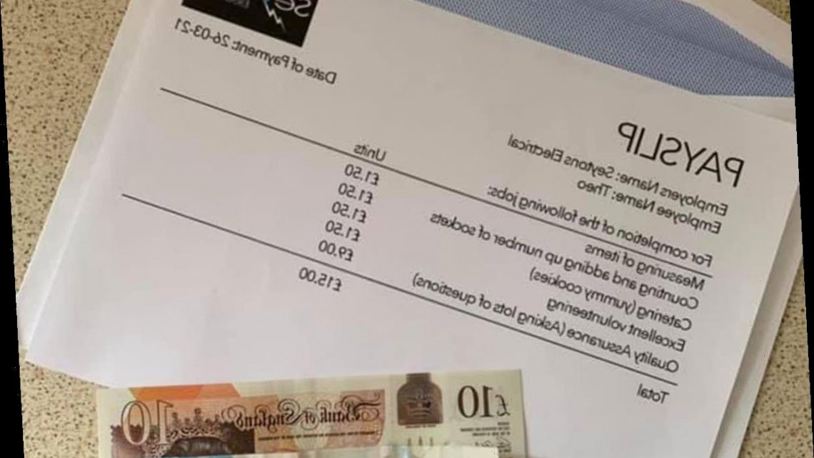 Mum reveals adorable £15 'pay packet' her young son received from builders after he helped them do their work