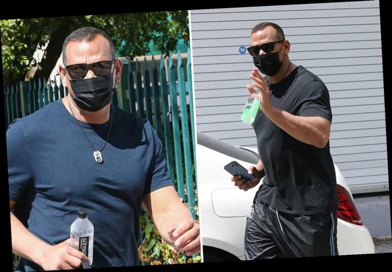 ARod spotted for first time since JLo split at Miami gym as he insists couple is 'working through some things'