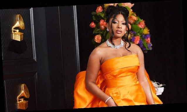 Megan Thee Stallion Wows In Dramatic Orange Gown & Drips In Diamonds At 2021 Grammys