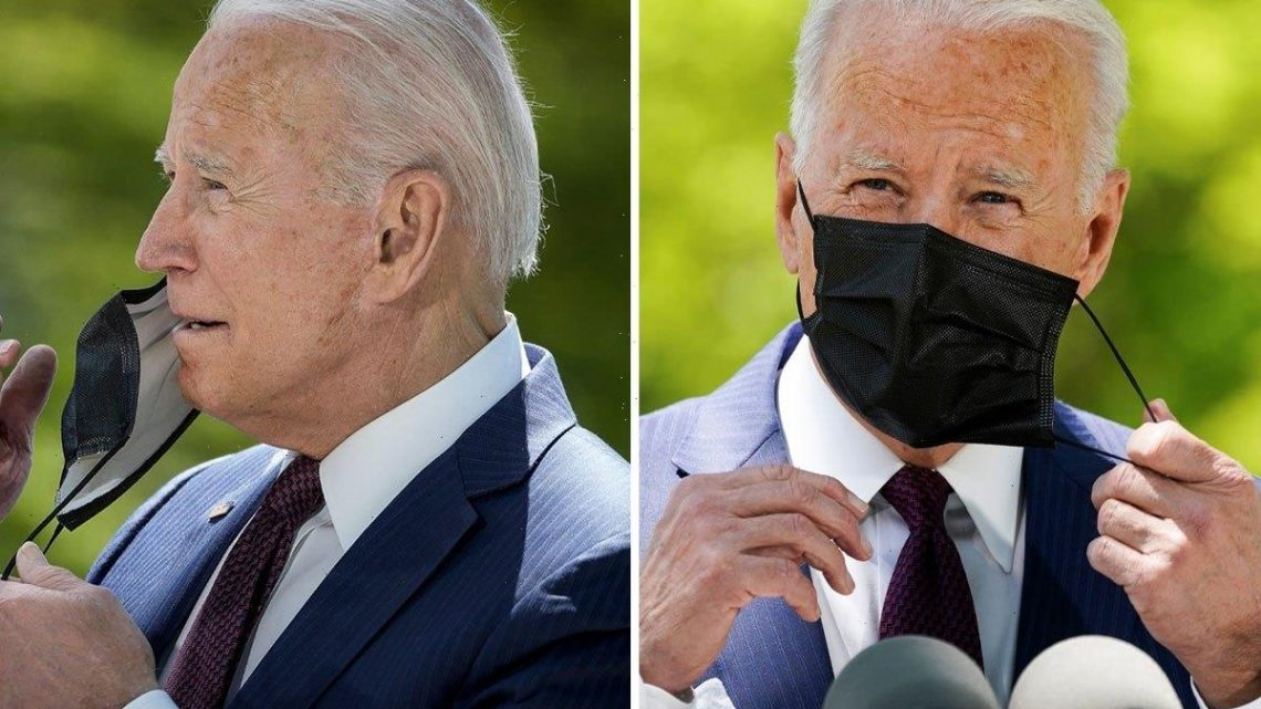 Biden wore mask despite eased Covid restrictions for vaxxed Americans so people 'watch him take it off & put it back on'