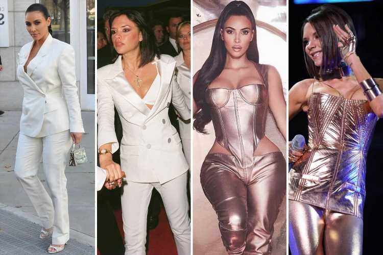 How Kim Kardashian has long spiced up her wardrobe by following Victoria Beckham's '90s girlband fashion