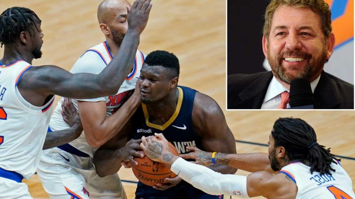 Knicks stymie Zion Williamson late for big win in front of James Dolan