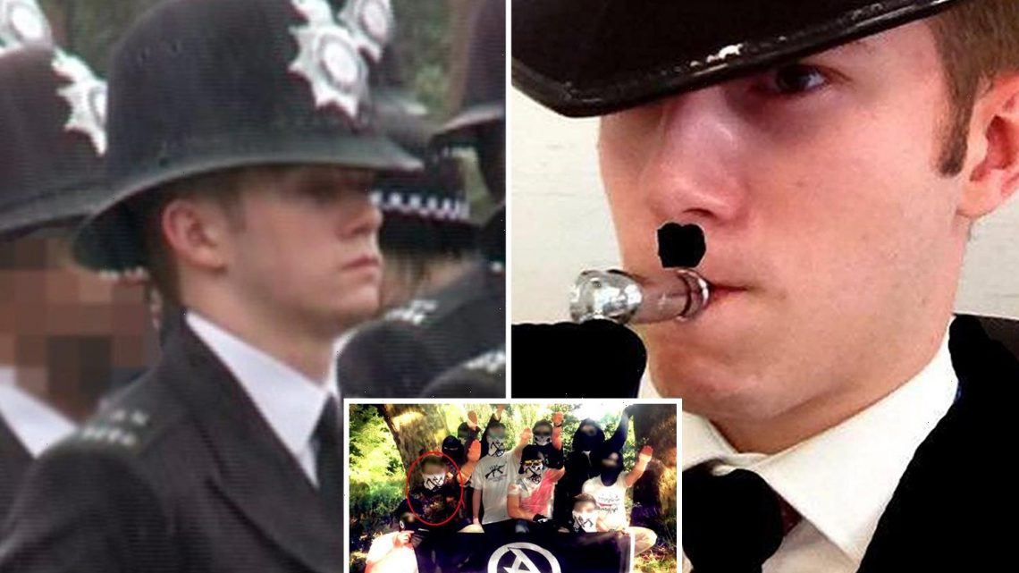 Met cop, 22, pictured with Hitler moustache is first British officer to be jailed for joining neo-Nazi terror group