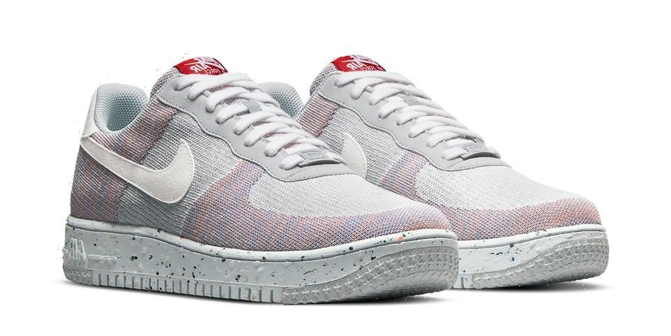 """Nike Air Force 1 Crater Flyknit """"Wolf Grey"""" Supplies Stretchy Sustainable Style"""