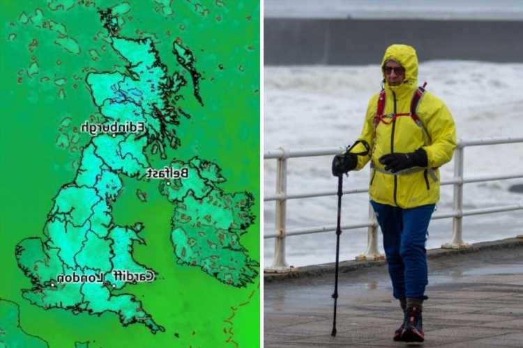 Polar winds and lashing rain blast Britain with possible flooding set to lead to washout Bank Holiday weekend