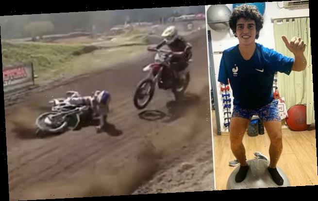 Horrific moment one-armed motocross rider is  killed by competitors